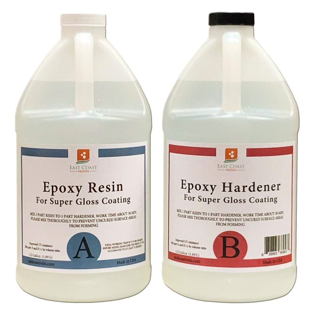 Epoxy Resin 1 Gallon Kit | 1:1 Crystal Clear Resin and Hardener for Super Gloss Coating | for Bars, Tabletop, Art, Jewelry, Casting Molds | Safe for Use on Wood, Metal, Stone, Plastic, Marine Sealer