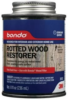 Bondo Rotted Wood Restorer, Penetrates into Spongy, Dry-rotted Wood Fibers Creating a Solid Surface, 8 Fl oz